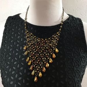Vintage bead Bib Bronze Necklace